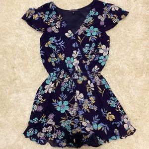 Navy Floral Romper-Small